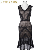 Kate Kasin Black Short Cocktail Dresses Women Lace Party Dress Knee Length Mermaid Style Robe De