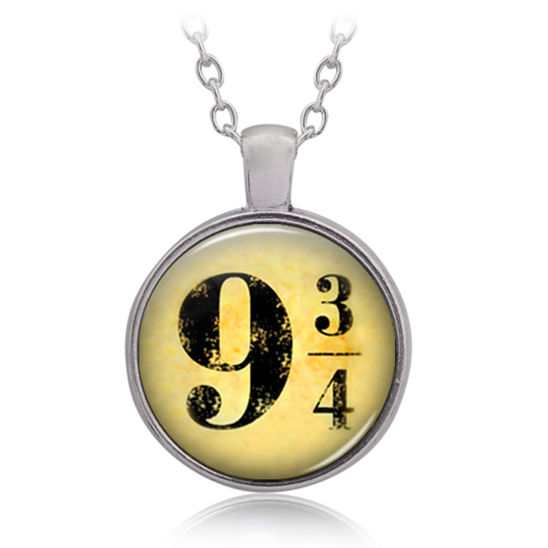 Halloween Christmas New Year Gift HP Nine And Three Quarters 9 3/4 Pattern Time Gem Cabocho Necklace Birthday Present