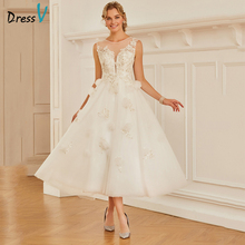 Dressv Scoop Neck A-line Wedding Dress Sleeveless Tea Length Appliques Tulle Zipper-up Church Garden Princess Wedding Dresses