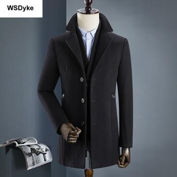 2018 New Medium Long Thick Detachable Liner Men Wool Coat High Quality Turn Down Collar Casacos Masculino