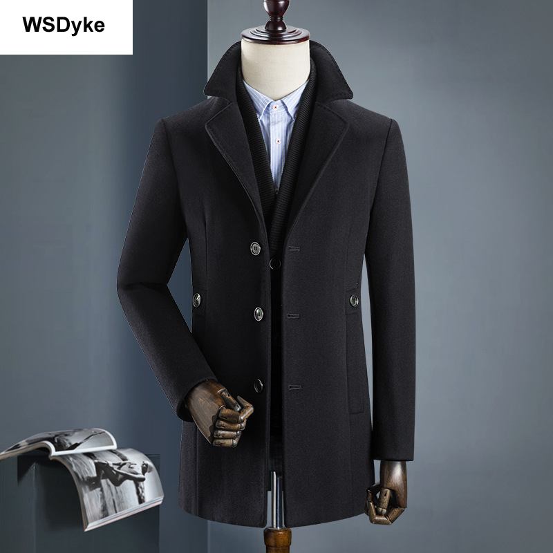 2020 Medium Long Thick Detachable Liner Men Wool Coat High Quality Turn Down Collar Casacos Masculino