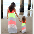 Mommy and Me  Matching Dresses 2016 Summer Mother and Daughter Girls Matching Outfits Chervon Lace Dress Family Matching Clothes