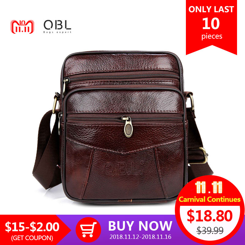 QiBoLu Cow Genuine Leather Messenger Bags Men Travel Business Crossbody Shoulder Bag for Man Sacoche Homme Bolsa Masculina MBA19 crazy horse genuine leather messenger bags men travel business crossbody shoulder bag for man sacoche homme bolsa masculina