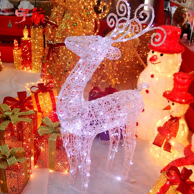 aerospace new large luminous white deer christmas reindeer ornaments scene with hotel supplies store window - White Deer Christmas Decoration