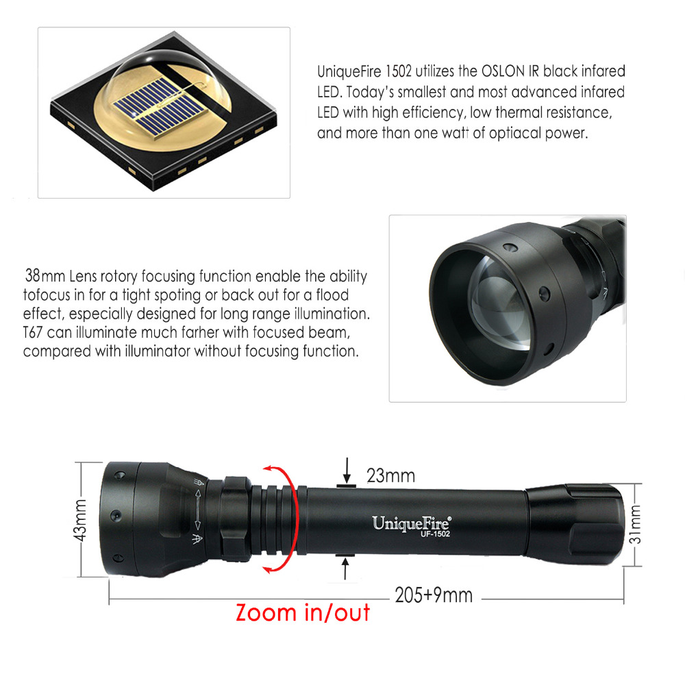 UniqueFire 1502 IR 940nm 3 Modes Upgraded Zoomable Rechargeable LED Flashlight Torch 38mm Convex Lens  Light Lamp