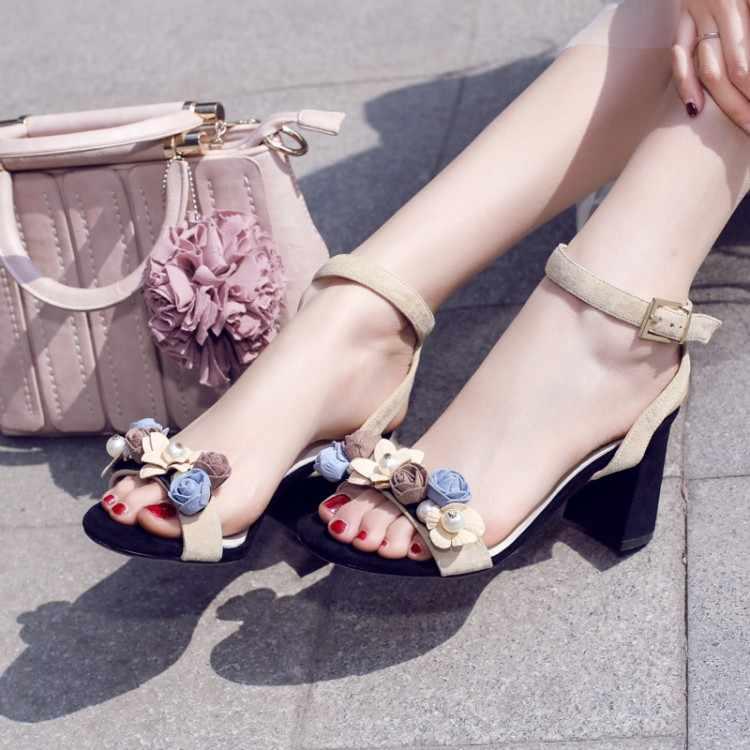 Große Größe 9 10 11 12 Blume high heels sandalen frauen schuhe frau sommer damen