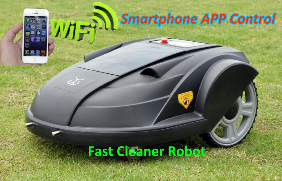 Newest Smartphone App WIFI Wireless Remote Control Lawn Mower Robot with Water-proofed Charger,Range,subarea,Compass functions newest wifi app smartphone wireless remote control lawn mower robot with water proofed charger range subarea compass functions