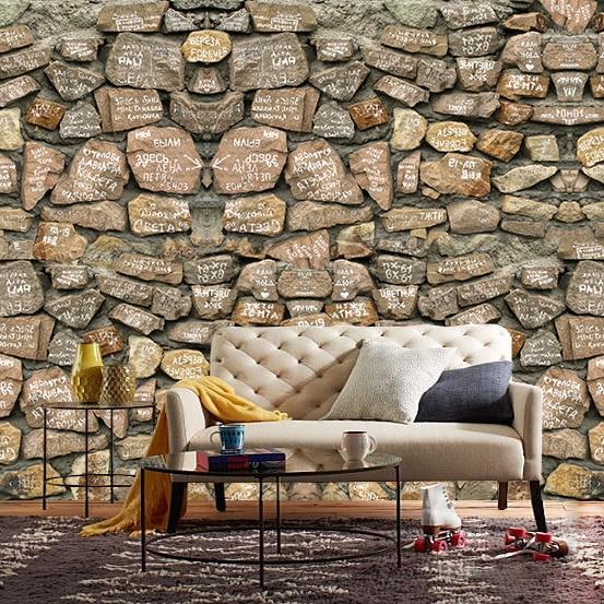 Nouveau 8D grand papier peint en pierre 3d papier peint Mural 3D papier peint en pierre pour salon canapé fond décor