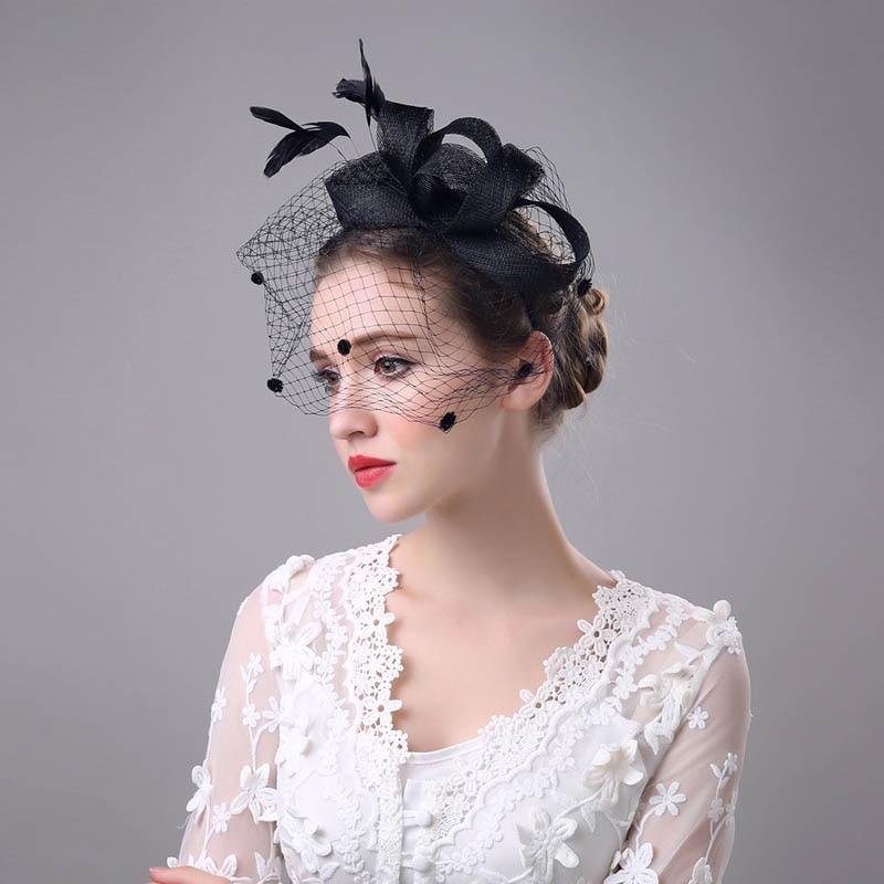 Vintage Women Fascinator Cambric Cocktail Hat Hairband Veiling Headband Lady Wedding Party Headdress Hair Accessoies H9