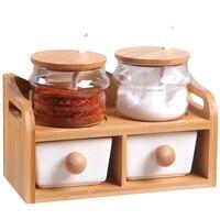 Kitchen Utensils Creative Ceramic Seasoning Pot Oil Bottle Set Glass Seasoning Box Bamboo Tray Kitchenware Spice Box Salt Shaker