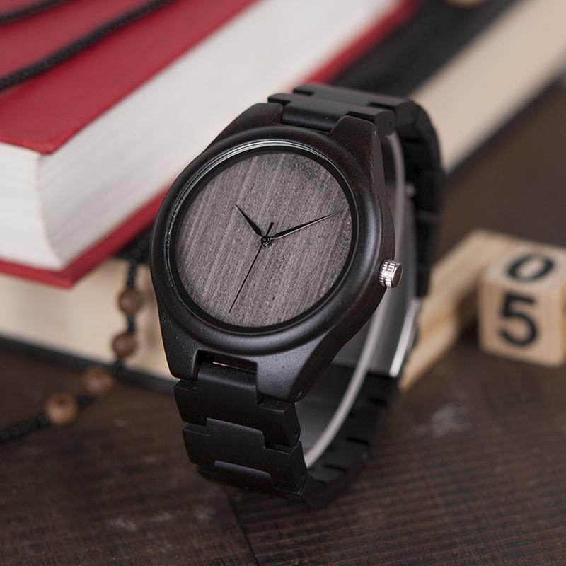 BOBO BIRD Mens Black Ebony Wooden Watches Wood Links Causal Quartz Wrist Watch in Gift Box custom logo 10