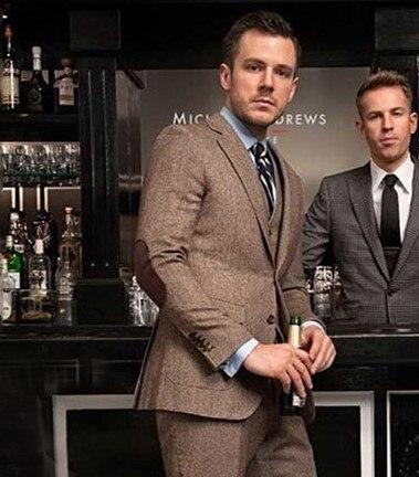 Springplus Mens Suits Jacket Casual Men Three-Piece Blazer Groomsman Tuxedos Vest Sets