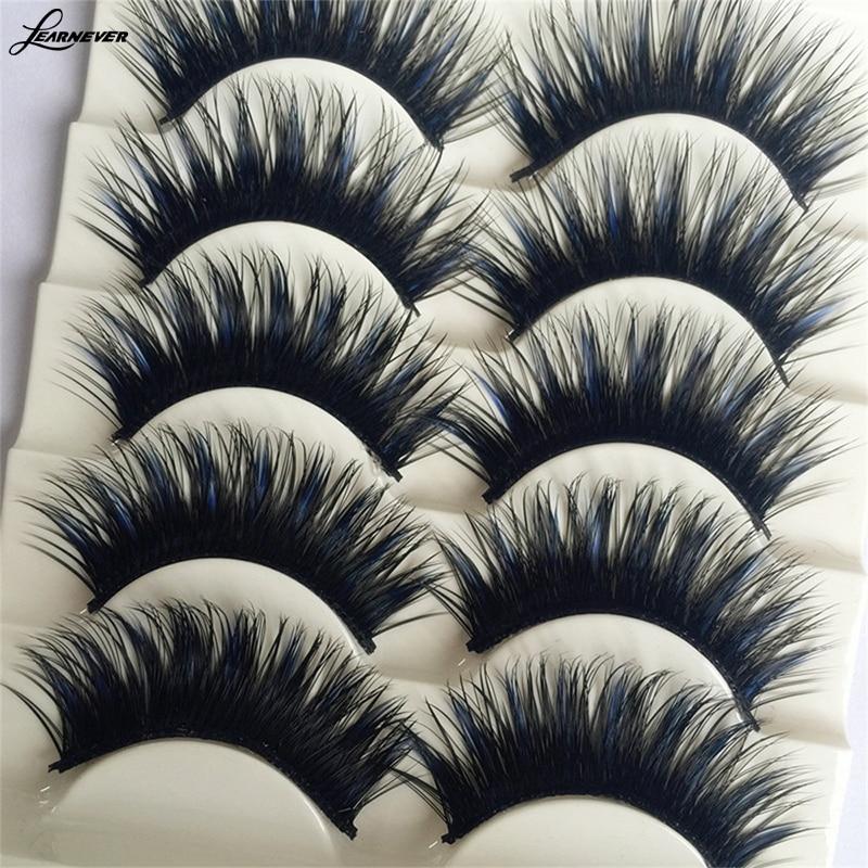 Высокое качество 5 пар синий + черный длинный толстый крест Накладные ресницы ручной работы ресницы макияж m02680