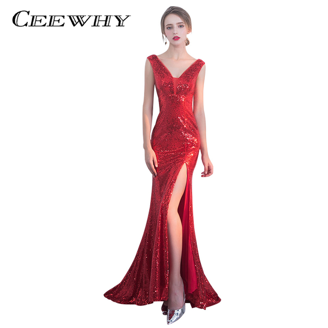 CEEWHY Vestido de Festa Longo Red Evening Dress Luxury Long Sequin Mermaid  Evening Gowns Sleeveless Prom Party Formal Dresses 27c0d7e43c1b