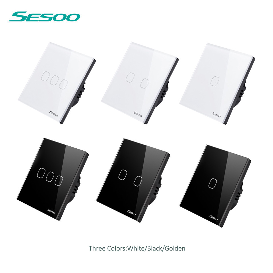 SESOO EU Standard Touch Switch 1 Gang 2gang 3gang 1 Way, Wall Light Touch Screen Switch, Crystal Glass Switch Panel, White/Black