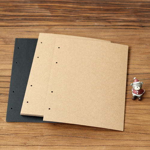 Big Vertical 4 Holes 28.5*20.5CM Kraft Black Card for Diy Photo Album Adding Inside Page ...