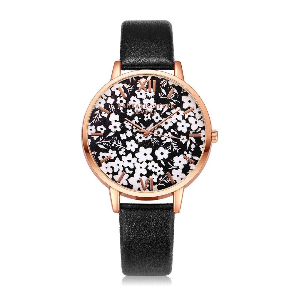 Lvpai Women Bracelet Watch Fashion Rose Gold Flowers Leather Simple Women Dress Watches Luxury Business Gift Clock Watch