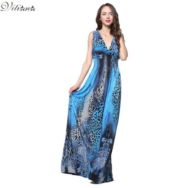 8a491d498d 2017 Womens Summer Elegant Boho Beach Clothing Ladies Bohemian Print Maxi  Long Dress Plus Size 6XL 7XL Vestidos 3010