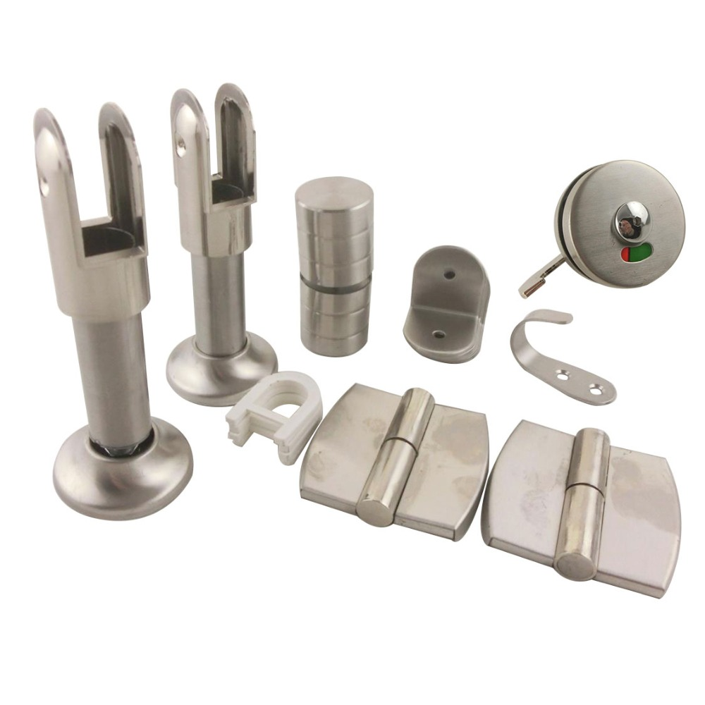 Stainless Steel Public Toilet Accessories Set for WC Partition 2pcs set stainless steel 90 degree self closing cabinet closet door hinges home roomfurniture hardware accessories supply
