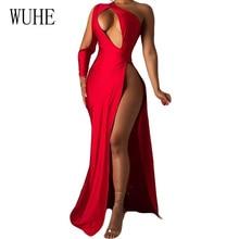 цена на WUHE Sexy One Shoulder Skew Neck Cutout Bust High Slit Floor Length Mermaid Maxi Dress Summer Party Night Club Dress Vestidos