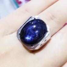 Мужское кольцо, натуральный настоящий сапфир,, серебро 925 пробы, 13*18 мм, 14CT, драгоценный камень, хорошее ювелирное изделие, кольца Boss# BL180913004