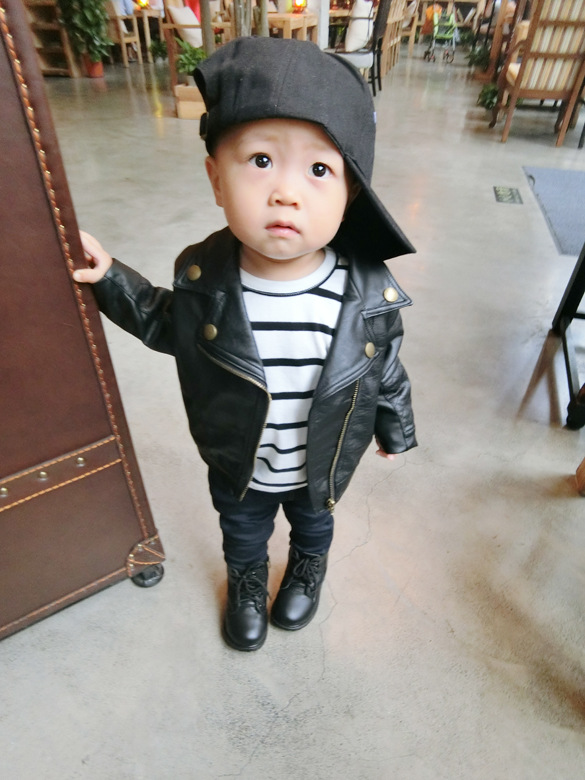 Wind PU Leather Leather Coat Baby Boys and Girls Short Children Jacket 23