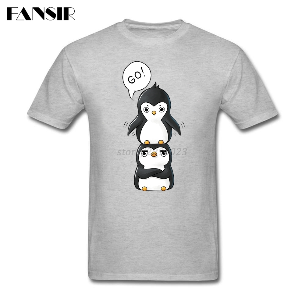 Vintage T-Shirt,King Penguins on Shore Fashion Personality Customization