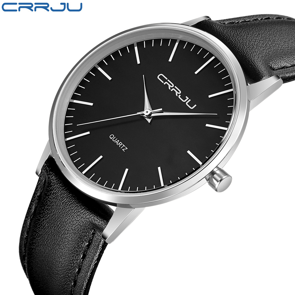 New Fashion Casual Menn Quartz Watch Menns Sport Klokker CRRJU Brand Luxury Super Slim Lær Rem Menn Kvinner Relogio Masculino