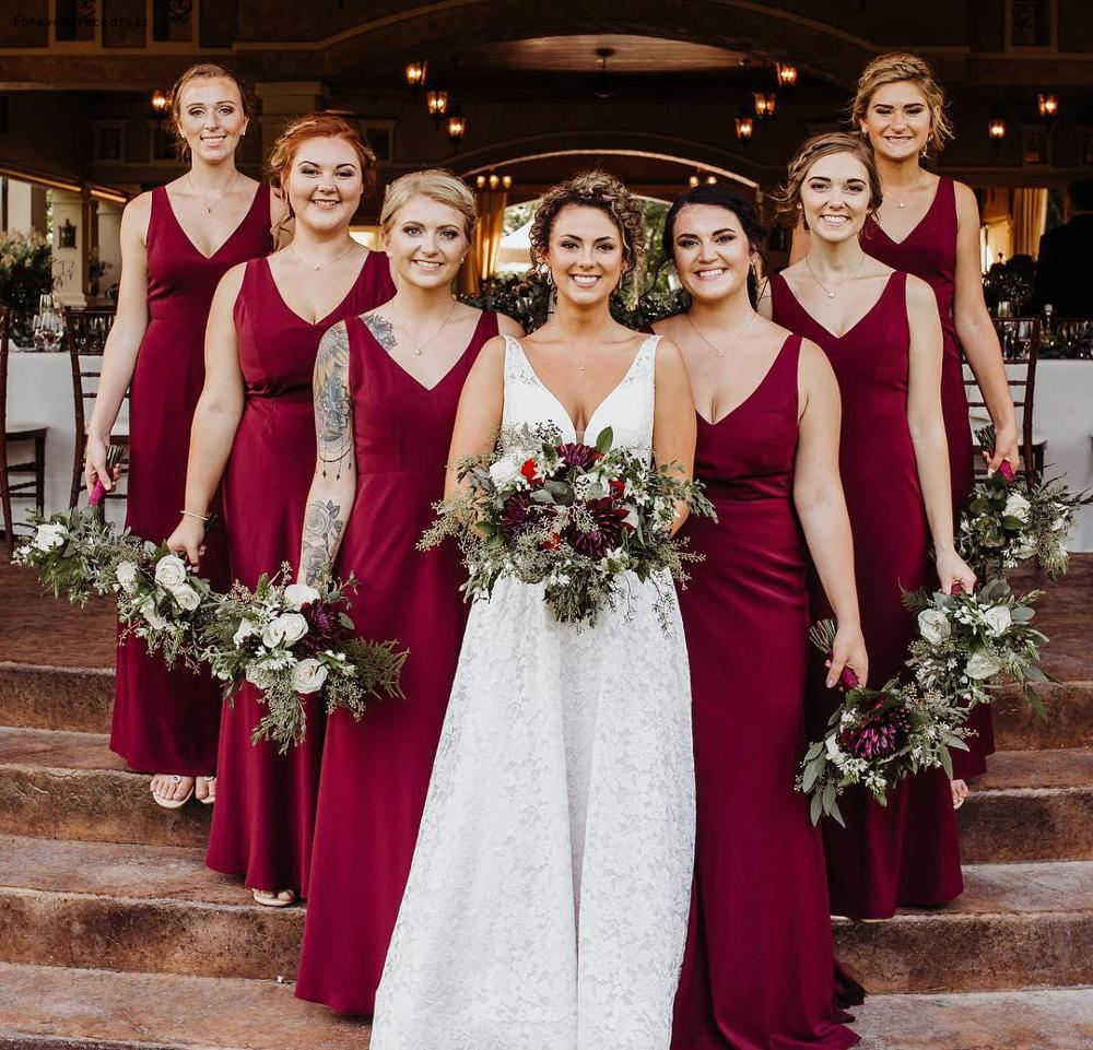 Long Bridesmaid Dresses 2019 Red A Line Chiffon V Neck Summer Country Garden Formal Wedding Party Guest Maid Of Honor Gowns
