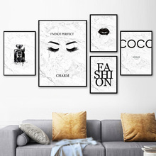 Pop Art Lips Painting Quotes Posters And Prints Nordic Poster Marble Canvas Perfume Wall Abstract Picture Unframed