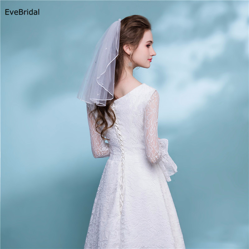 Купить с кэшбэком 1 Layer white Ivory Shoulder Length Satin Ribbon Edge Wedding Bridal Veil with Comb