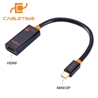 Cabletime Thunderbolt Mini DP To HDMI 4K Cable Mini DisplayPort To HDMI Adapter 4Kx2K For MacBook