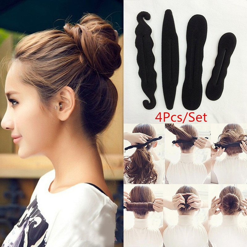 4Pcs/Set Women Magic Foam Sponges Styling Hair Clip Device Donut Quick Messy Bun Updo Hairs Clips Tools Practical Accessories fishtail braid with hair accessory