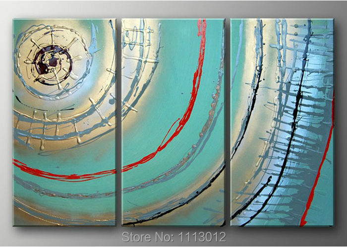 100% Hand Paint 3 Piece Set Sun Line Decoration Oil Painting On Canvas Modern Home Wall Picture On The Wall For Living Room Sale