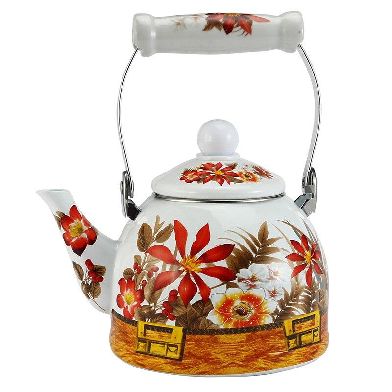 Water Kettle 1 5L Enamel Flower Teapot Ceramic Kettle Used On Electromagnetic Stove Gas Range Electronic