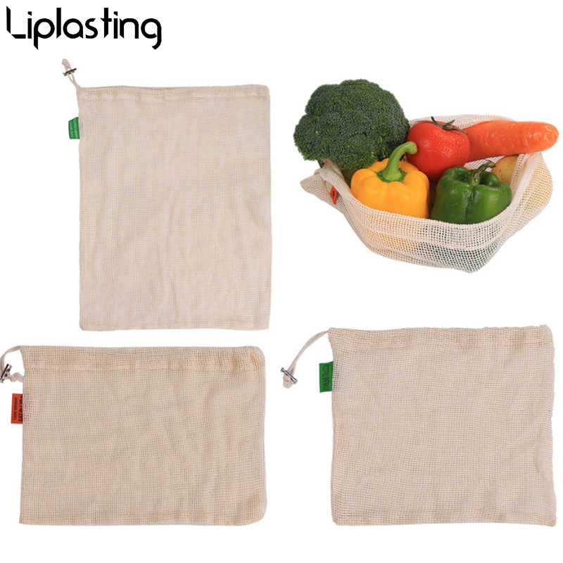 Reusable Cotton Vegetable Bags Home Kitchen Fruit And Vegetable Storage Mesh Bags With Drawstring Machine Washable
