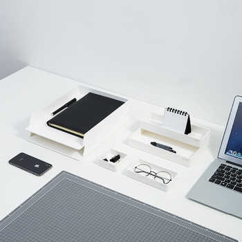 A Set ABS Desktop Office File Storage Box Document Trays Desk Organizer set Office