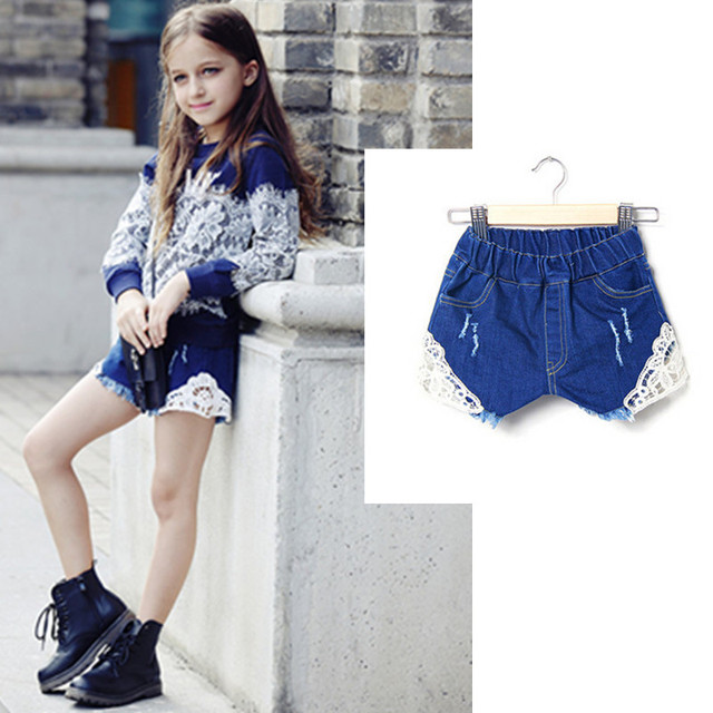 e5ba7405ef28 2015 Mummy For the children to dress up denim shorts Big Girl Distrressed jeans  children's jeans kids Clothing 6 -16 Age