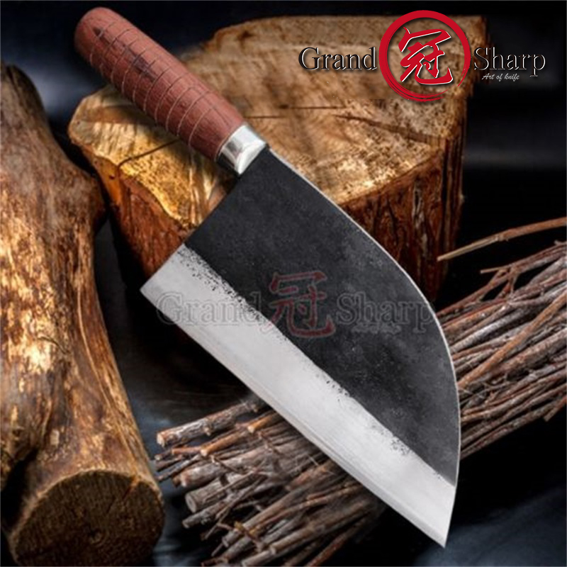 7 8 Inch Handmade Forged Chef Traditional Chinese Forged Cleaver Chef Kitchen Knives Prefessional Meat Vegetables