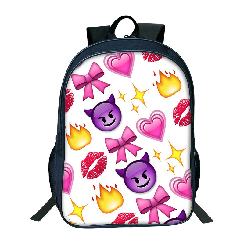 2018 New Fashion Backpack Women Funny Emoji Face Printing Cool Backpacks For Teenage Girls School Back Pack Bag Mochila Feminina