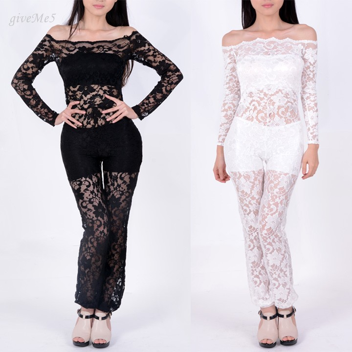 2017 New Summer Sexy Women Jumpsuit lace Romper Novelty Bandage Party Clubwear Bodycon Bodysuit Black/White S M L 10