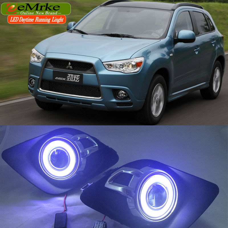 LED Daytime Running Lights For Mitsubishi ASX RVR 2011 2012 LED Angel Eye DRL H11 55W Fog Light Halogen eemrke for toyota vios yaris belta 2007 2013 led angel eye drl daytime running light halogen yellow h11 55w fog lights
