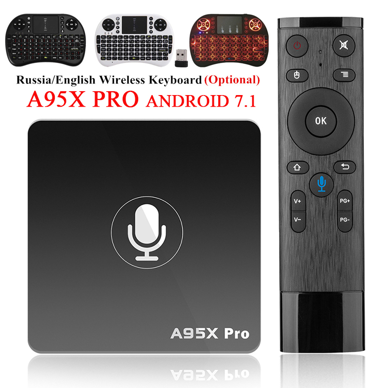 A95X Pro Android 7.1 TV Box Voice Control Quad Core Amlogic S905W H.265 2GB 16GB 2.4GHz WiFi 4K HD Media Player Set-top Boxes