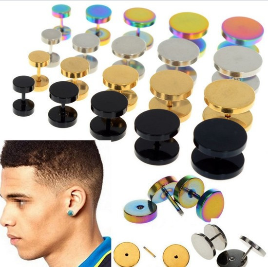 Gold Black Stainless Steel Cheater Faux Fake Ear Plugs Flesh Tunnel Gauges Tapers Stretcher Earring 1