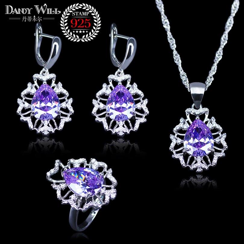 Jewelry-Set Crystal Pendants/rings-Set 925-Sterling-Silver Fashion Water Clear Purple