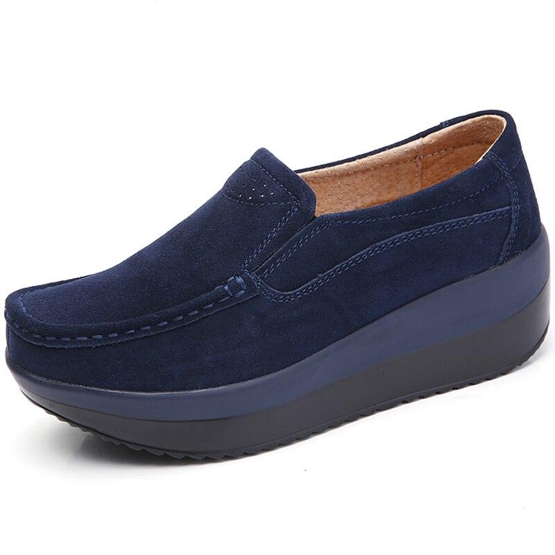 Suede 35 forme Confortable Nouveau Noir gris Wsh2741 Taille Cuir En Plate Sneakers Mujer 42 Automne bleu Zapatos rouge Casual Femmes Compensées Chaussures Des Beckywalk 0TOt4qw4