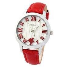 Дисней часы бренда Минни Кварц 30 м водонепроницаемый женщина Ретро Жалюзи Женские наручные часы