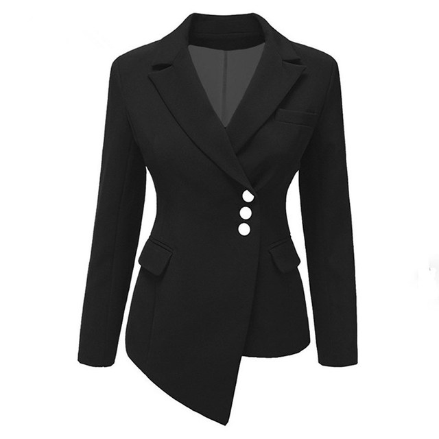 Plus Size Autumn Solid Short Blazer Women Casual Asymmetric Suit Coat Office Lady Slim Blazer Jacket