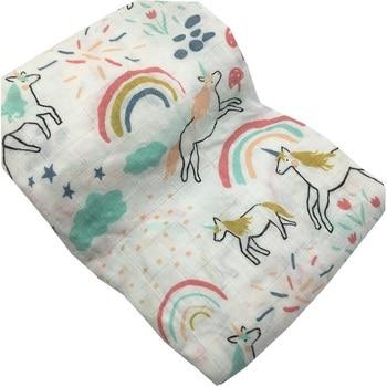 100% Bamboo Fiber Muslin Blanket Print Floral Baby  1