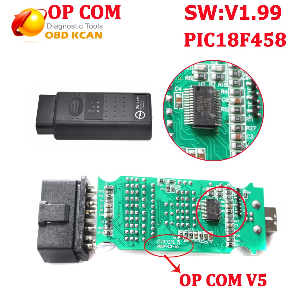 Hot Sale V5 V1.99 OP COM With PIC18F458 CAN BUS OBD2 OP-COM V5 OPCOM Diagnostic-tool With Free Shipping